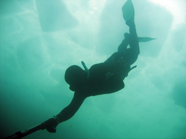 Underwater shot of René going for the bottom